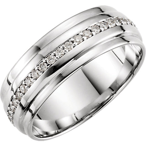 14K White Gold 1/3 CTW Diamond Band Size 7