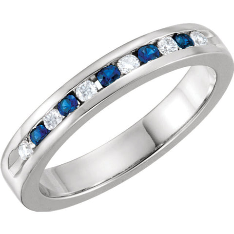 Platinum Blue Sapphire & 1/8 CTW Diamond Classic Channel Set Anniversary Band, Size 7