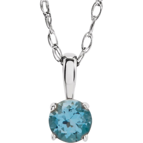 "14k White Gold Imitation Blue Zircon ""December"" Birthstone 14-inch Necklace for Kids"