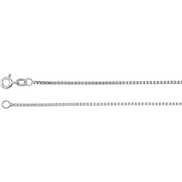 "14k White Gold 1.3mm Diamond Cut Box 16"" Chain with Spring Ring"