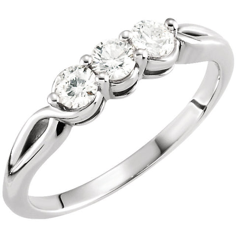 14k White Gold 1/2 CTW Diamond Three-Stone Ring , Size 7
