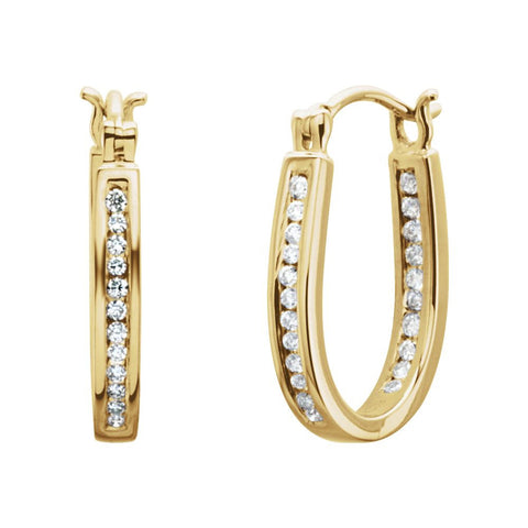 14k Yellow Gold 1/4 CTW Diamond Inside/Outside Hoop Earrings