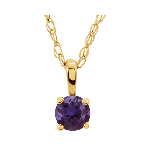 "14k Yellow Gold Imitation Amethyst ""February"" Birthstone 14-inch Necklace for Kids"