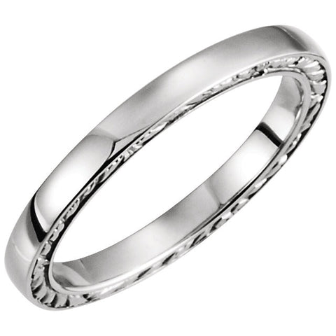 14K White Gold Sculptural Band Size 7.5