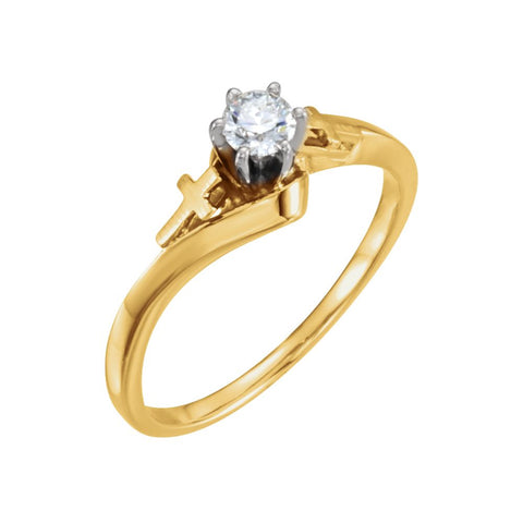 Men's Band and Ladies Engagement Ring in 14K Yellow Gold (Size 6)