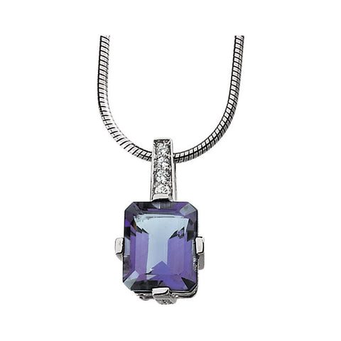 Sterling Silver Genuine Amethyst & Cubic Zirconia Necklace (18 Inch)