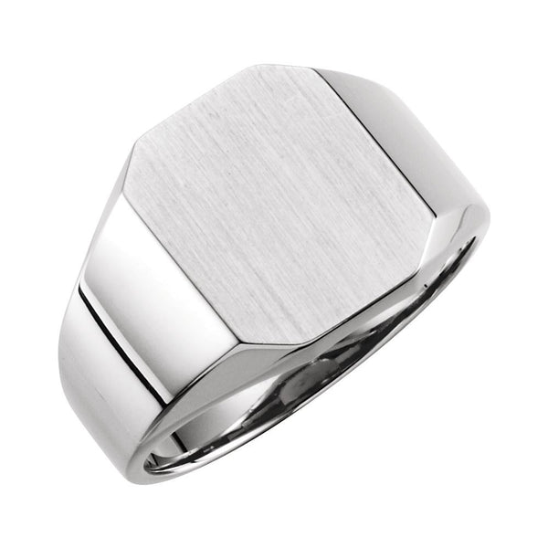 14k White Gold 12x14mm Men's Signet Ring , Size 10