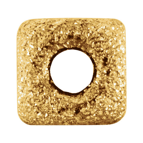 14K Yellow Gold 4mm Pave' Square Bead