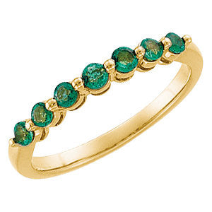 14k Yellow Gold Emerald Anniversary Band Size 7