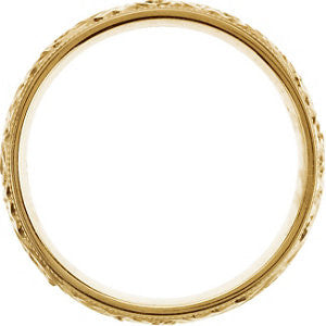 14k Yellow Gold 6mm Hand Engraved Band Size 10