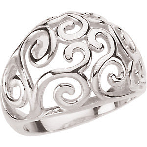 Sterling Silver Metal Fashion Scroll Ring, Size 7
