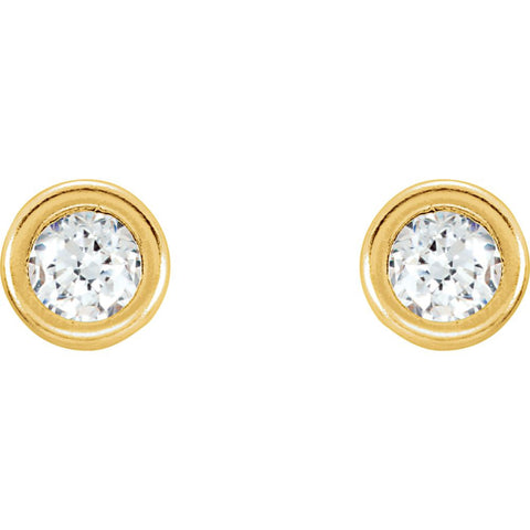 14k Yellow Gold 3mm Cubic Zirconia Youth Bezel Stud Earrings