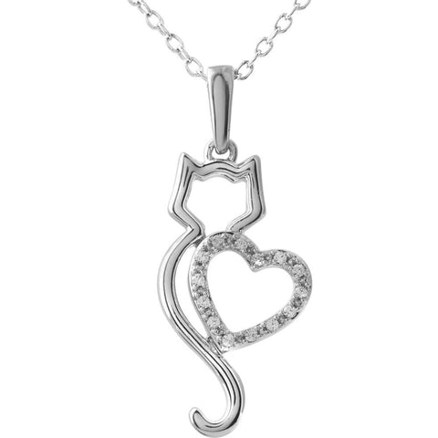 "10k White Gold .05 CTW Diamond Cat Silhouette with Heart 18"" Necklace"