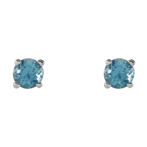 14k White Gold 4mm Round Swiss Blue Topaz Earrings