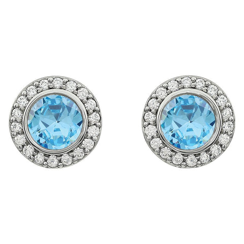 Sterling Silver Light Blue Cubic Zirconia Earrings