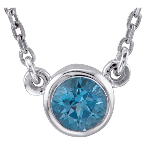 "Sterling Silver Swiss Blue Topaz Bezel 16"" Necklace"