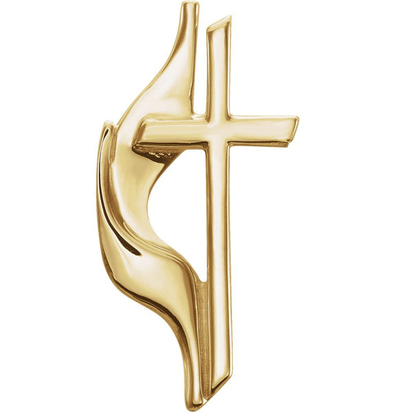 14k Yellow Gold Methodist Cross Lapel Pin