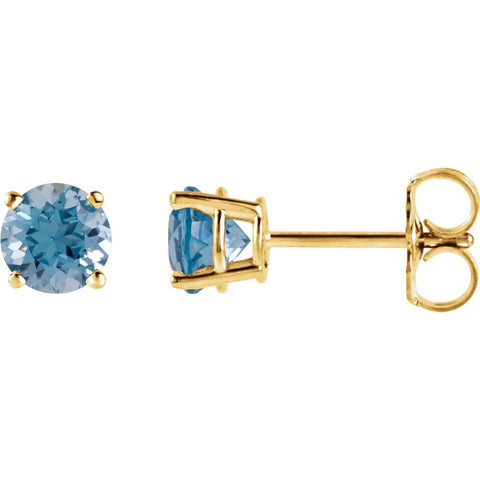 14k Yellow Gold 5mm Round Swiss Blue Topaz Earrings