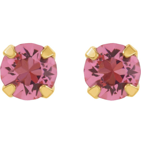 "24K Yellow with Stainless Steel Solitaire ""October"" Birthstone Piercing Earrings"