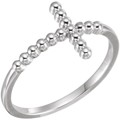 Continuum Sterling Silver Beaded Sideways Cross Ring, Size 7