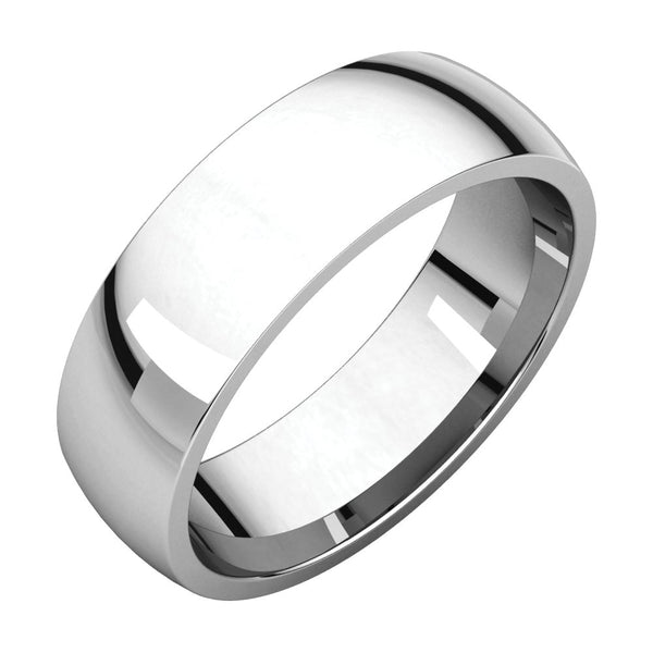 18k Palladium White 6mm Light Comfort Fit Band, Size 10.5