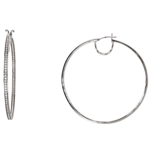 Pair of Cubic Zirconia Inside/Outside Hoop Earrings in Sterling Silver