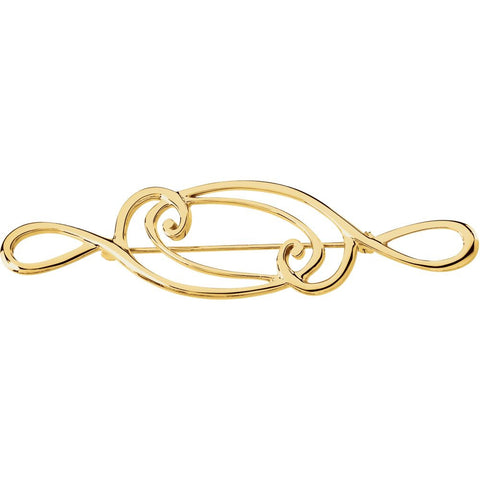 14k Yellow Gold 75x19mm Brooch