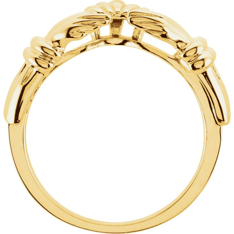 14k Yellow Gold Claddagh Wrap-Style Ring Enhancer , Size 6
