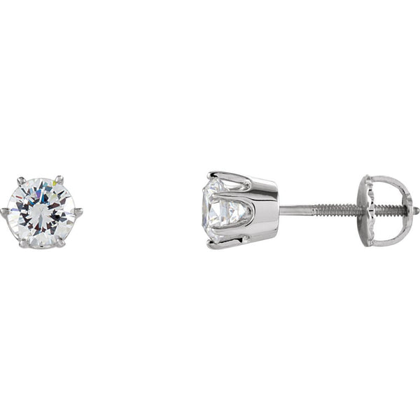 14k White Gold 5.25mm Cubic Zirconia Stud Earrings