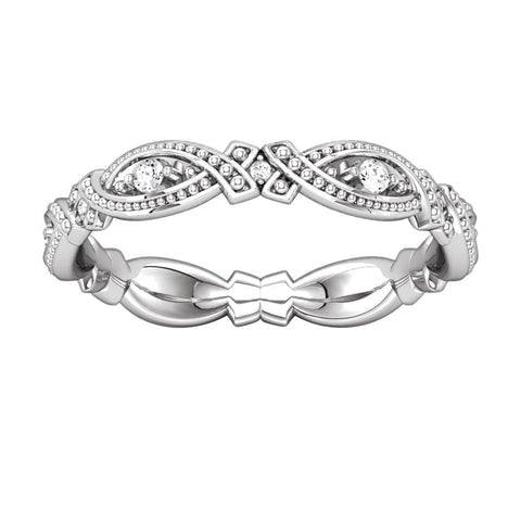 14k White Gold 1/6 CTW Diamond Eternity Band Size 6
