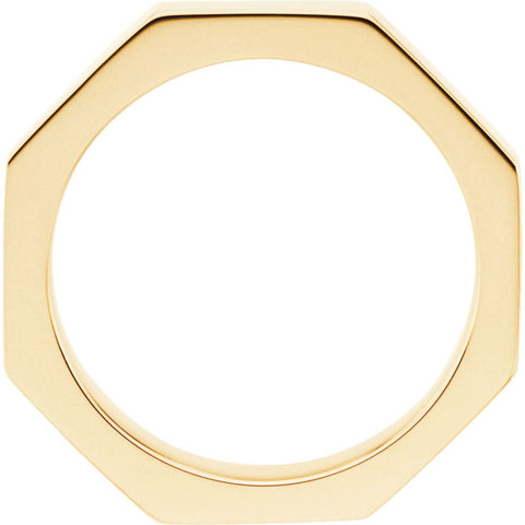 14k Yellow Gold 3.75mm Octagon Band Size 8