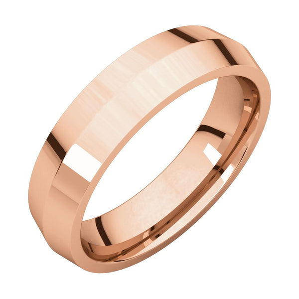 10k Rose Gold 6mm Knife Edge Comfort Fit Band, Size 7.5
