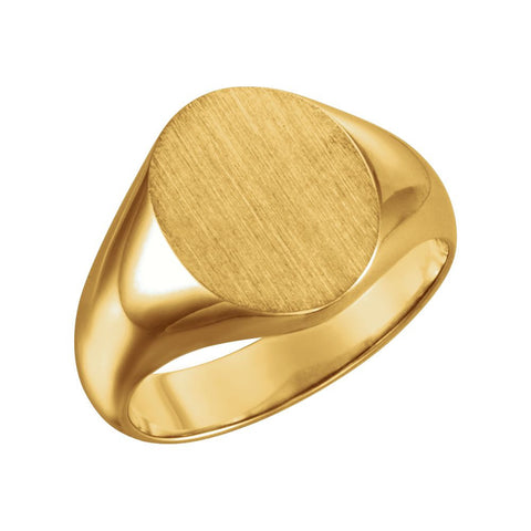 10k Yellow Gold 12x10mm Oval Signet Ring for Men, Size 6