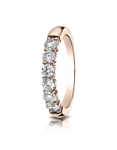 Benchmark 14k Rose Gold 3mm high polish Shared Prong 6 Stone Diamond Ring (0.66Ct.), (Sizes 4-9.5)