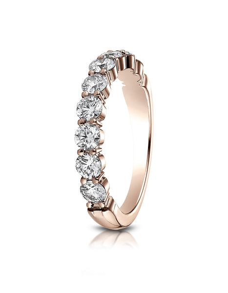 Benchmark 14k Rose Gold 3mm high polish Shared Prong 9 Stone Diamond Ring (0.99Ct.), (Sizes 4-9.5)