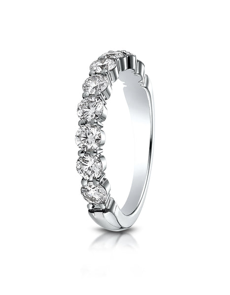 Benchmark 14k White Gold 3mm high polish Shared Prong 9 Stone Diamond Ring (0.99Ct.), (Sizes 4-9.5)