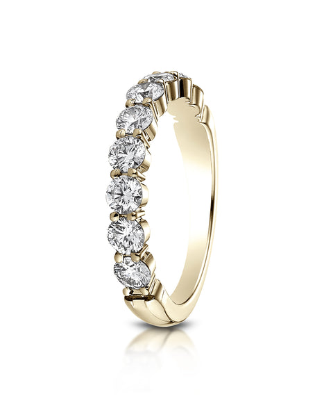Benchmark 14k Yellow Gold 3mm high polish Shared Prong 9 Stone Diamond Ring (0.99Ct.), (Sizes 4-9.5)