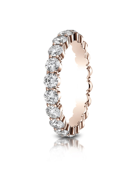 Benchmark 14k Rose Gold 3mm high polish Shared Prong Diamond Eternity Ring, (1.98ct -2.42ct)