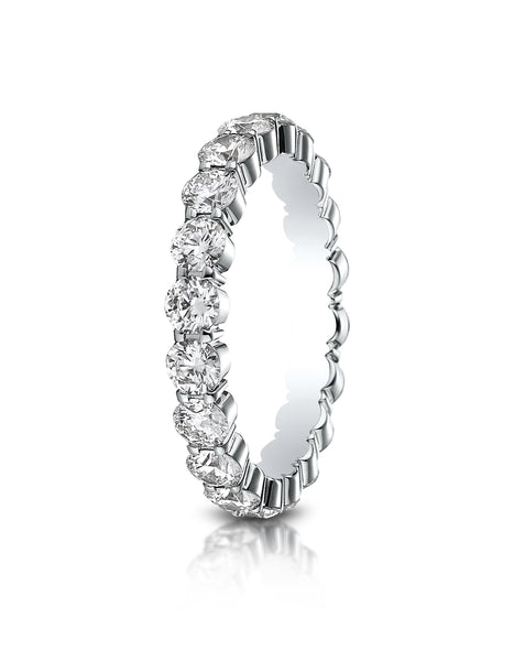 Benchmark 14k White Gold 3mm high polish Shared Prong Diamond Eternity Ring, (1.98ct -2.42ct)