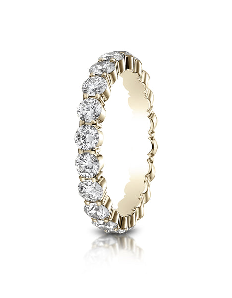 Benchmark 14k Yellow Gold 3mm high polish Shared Prong Diamond Eternity Ring, (1.98ct -2.42ct)