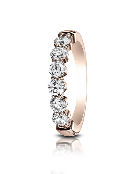 Benchmark 14k Rose Gold 3mm high polish Shared Prong 6 Stone Diamond Ring (0.96Ct.), (Sizes 4-9.5)