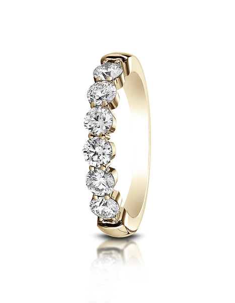 Benchmark 14k Yellow Gold 3mm high polish Shared Prong 6 Stone Diamond Ring (0.96Ct.), (Sizes 4-9.5)