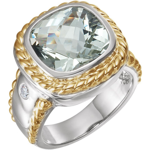Sterling Silver & 14k Yellow Gold Green Quartz & 1/10 CTW Diamond Ring , Size 7