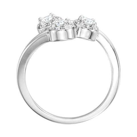 14k White Gold 3mm Round Three-Stone Halo-Style Ring Mounting , Size 7