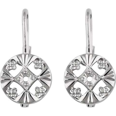 14k White Gold 2mm Round Earring Mountings