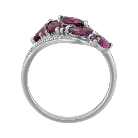 14k White Gold Brazilian Garnet & Diamond Accented Bypass Ring, Size 7