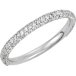 Pav? Anniversary Band in 14k White Gold, Size 7