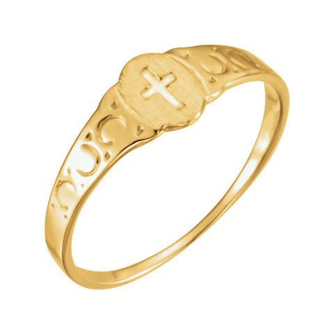 Kid's Signet Ring with Cross in 14k Yellow Gold ( Size 6 )