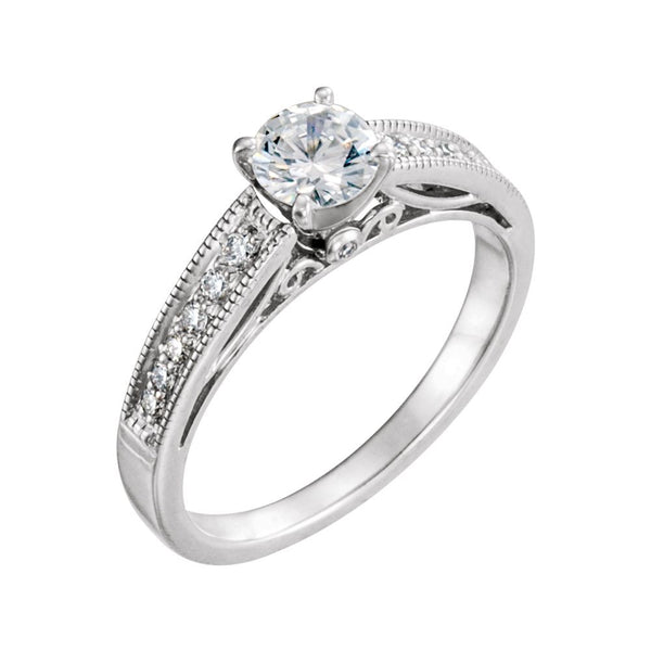 14k White Gold 5mm Round Forever Classic™ Moissanite & 1/6 CTW Diamond Engagement Ring, Size 7