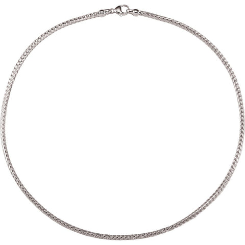 "Sterling Silver 2.75mm Solid Foxtail 16"" Chain"